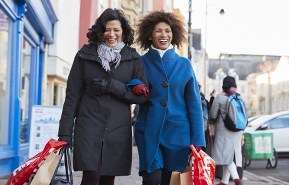 Two Women Shopping In City Together