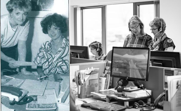 Our specialist nurses working on the Helpline, then and now